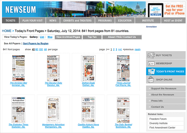 Newseum.org - zeitungstitel