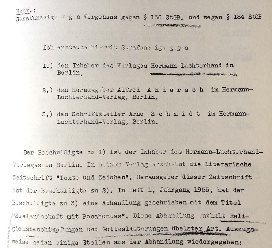 Anzeige gegen Andersch und Schmidt