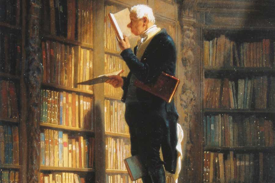 Woe ich lese - Der Bücherwurm von Spitzweg